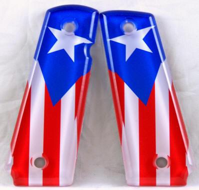 Puerto Rico Flag Featured On 1911 Fullsize Left Side Safety Pistol Grips